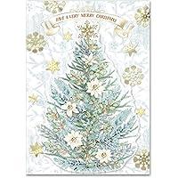 Punch Studio 植物树立体节日盒装卡片,12 张装饰卡和信封 (44686)