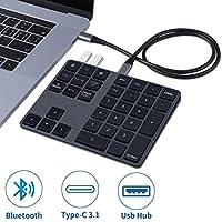 可充电 - 蓝牙数字键盘,带 USB 3.0 集线器 Slim 34 键的外部数字键盘数据输入适用于 MacBook、MacBook Air/Pro、iMac Windows 笔记本电脑表面专业等
