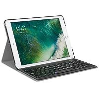 美国MoKo 苹果【2017新款】Apple iPad 无线蓝牙键盘保护套 蓝牙3.0无线距离10米 可分离式 iPad9.7智能休眠键盘皮套 适用于Apple iPad 9.7英寸 Retina(2017版)平板电脑蓝牙键盘电压套 黑色