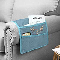 Guken 床边收纳盒 4 个口袋床边收纳盒 杂志夹 适用于电视遥控器 水瓶杂志书籍 手机 眼镜盒 iPad 蓝色灰色 Style2-13*35 GKGYSND0020BG