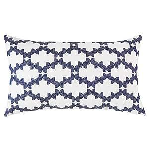 SLOW COW 刺绣装饰长方形抱枕套 腰枕套 30.48 x 50.8 厘米 Embroidery Navy Blue Checkered Single Piece 12 x 20 Inches Rectangular Lumbar Throw Pillow 187