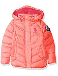 U.S. Polo Assn. 女童连帽泡泡泡夹克,带滚边细节,