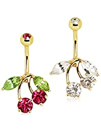 Gold Plated Cherry Navel Ring Red