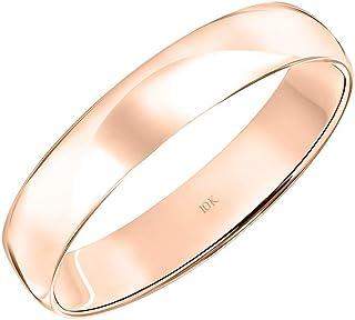 Brilliant Expressions 男式 10K 玫瑰、白金或黄金婚戒经典简单 4MM