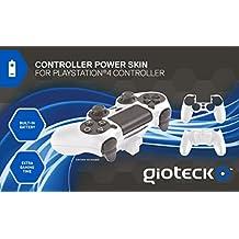 Gioteck 白色控制器动力皮肤(内置电池) (PS4) Playstation 4 白色