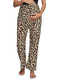 女式孕妇保暖羊毛休闲睡裤轻质棕色豹纹