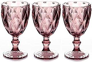 红酒杯 3 件套 10 盎司(约 283.5 克)婚礼派对彩色玻璃高脚杯 压花设计玻璃器皿(红色)