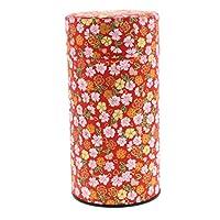 伊希达 茶筒 花朵图案 和纸 茶叶罐 大