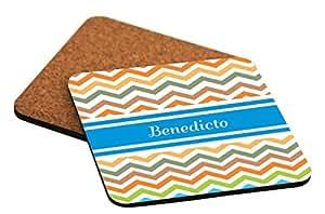 "Rikki Knight ""Benedicto Blue Chevron Name Design"" Square Beer Coasters"