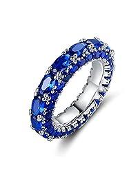 Barzel 镀铑翡翠和人造蓝宝石三排戒指 宝石蓝