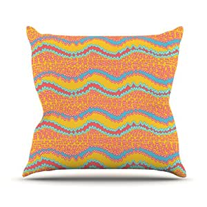 Kess InHouse Nandita Singh 粉色波浪橙色黄色户外抱枕,66.04 x 66.04 厘米