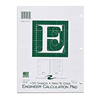 """Roaring Spring Engineering Pad, 8.5"""" x 11"""", Green, 100 sheets, Grid-to-Edge"""