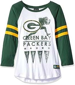 Icer Brands NFL 绿湾包装工队 女式 T 恤 跑步游戏 3/4 长袖 T 恤,S 码,白色