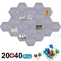 20 件针板六角形毡板瓷砖自粘公告板公告板公告板,公告板,40 件推针适用于家庭办公室教室墙画 5.9 x 7 英寸/ 15 x 17.7 厘米 灰色