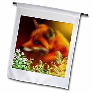 smudgeart 野生动物设计–red FOX IN THE Garden–旗帜 12 x 18 inch Garden Flag