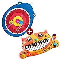 B.toys比乐大嘴鲨鱼搭扣飞靶+大嘴猫琴音乐玩具 组合装精美礼盒套装 婴幼儿童益智玩具 2岁+