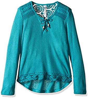 Beautees Girls' L/s Tie Front Top with Lace Hem