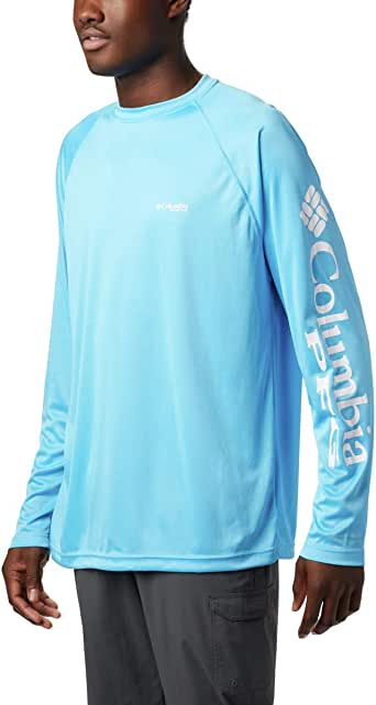 Columbia Men's Terminal Tackle Long Sleeve Shirt, Riptide, White Logo, 2X