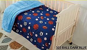 Elegant Home 儿童柔软温暖夏尔巴婴儿学步儿童毯印花波雷戈婴儿车或婴儿床或幼儿床毯毛绒毯 40X50 Ball Dark Blue