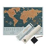世界防刮地图背包版 - 个性化世界旅行地图 - 刮擦地图 - 彩色划痕海报 - 非常耐用 - 是旅行者的完美礼物 - 蓝色