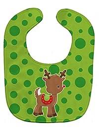 Caroline's Treasures Christmas Reindeer 婴儿围嘴,绿色,大号
