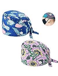 NDLBS 2 件套*工作帽带纽扣,吸汗带可调节系带后帽,印花男女皆宜