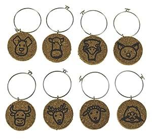 软木*杯魅力(多种设计可用)- 8 件套 软木 Animal Faces