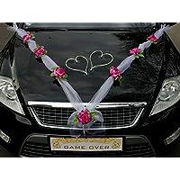 ORGANZA M + HERZEN Auto-Schmuck 新婚夫妇玫瑰装饰 汽车装饰 婚车 婚车装饰 轿车藤条花环 Violett / Weiß / Weiß