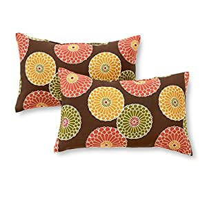 Greendale Home Fashions Rectangle Indoor/Outdoor Accent Pillows, Carnival Stripe, Set of 2 Flowers on Chocolate