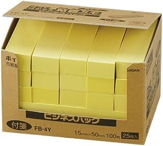 ニチバン ポイントメモ 再生紙シリーズ ビジネスパック 15mm×50mm 100枚×25冊入 イエロー 黄色