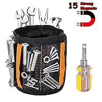 磁性腕带,2020 *版 15 个强大的磁性工具腰带,带 2 个口袋,酷炫礼品小工具,适合男士、丈夫、DIY 工匠、父亲/爸爸礼物(黑色)