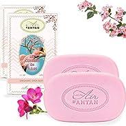 Un Air d'Antan 2 甜蜜复古樱花香皂,富含*摩洛哥坚果油和乳木果油、樱花香、自由西、不含防腐剂保湿*套装 2 x 3.52 盎司