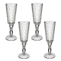 Villeroy & Boch-Boston Flare 11-7319-8130 香槟色长笛 4 件套水晶眼镜带奢华钻石图案大号存储表面可用洗碗机清洗