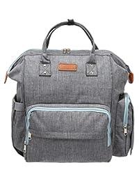 KoolOrigin 尿布背包,大号尿布包,配有婴儿车绑带,隔热口袋,防水,结实时尚 - 灰色