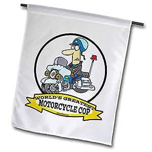 dooni Designs worlds greatest 漫画–趣味 worlds greatest 摩托车 COP 卡通–旗帜 12 x 18 inch Garden Flag