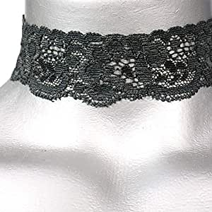 Twilight's Fancy Floral Elastic Stretch Lace Choker Necklace (Small, Charcoal Gray)