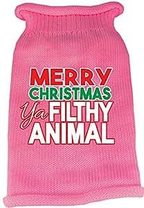 """Merry Christmas Ya Filthy Animal""棉质针织节日宠物毛衣 - 粉色 粉红色 中"
