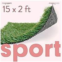 MEGAGRASS 合成运动草地垫 - 室内和室外运动草地毯,适用于运动和敏捷性训练 Custom Width - 15 FT 15Ft x 2Ft = 30 SqFt, 18.28 lbs