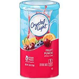 Crystal Light Drink Mix, Fruit Punch, Pitcher Packets, 4 Count, 1.36 Ounce (Pack of 12 Canisters)