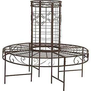 H.G. 树桌,金属锈铁锈,121 x 121 x 112 厘米,棕色
