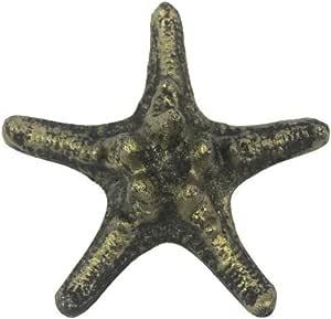 手工制作航海装饰乡村风格深蓝色白色水洗装饰海星 4.5 英寸 - 海星家居装饰 - 海洋装饰 金色 K-09459-gold