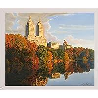 Frame USA Autumn in Central Park Framed Print 67.47cm x 81.28cm 作者 John Zaccheo-JOHZAC83156,67.95x81.28cm,实惠的白色中号