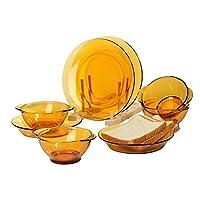 DURALEX 多莱斯碗盘餐具四人8件套 琥珀色(相似器型随机发货)