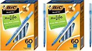 BIC 圆形 Stic Xtra Life 圆珠笔 2 Pack (60 Count) 蓝色