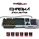 ONEXELOT Aluminum gaming keyboard, USB wired RGB backlit Revolutionary semi mechanical keyboard mod ENIGMA