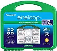 Panasonic 高級單芯電池充電器帶 eneloop AA 新款 2100 循環充電電池K-KJ75MC64ZA Plus Power Pack