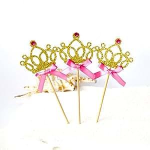 Astra Gourmet 12 只装闪光皇冠女孩生日派对纸杯蛋糕饰品公主生日派对装饰,金色 金色 13CM CRTOP-002-GD