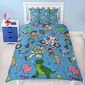 "Disney 玩具总动员 4""救援""单人/双面被套双面床上用品套装 蓝色 Single DTSRCUDS002"