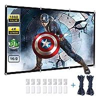 投影機屏幕,Powerextra 120 英寸 16:9 HD 可折疊防皺便攜式可洗投影屏幕,適用于家庭影院戶外支持雙面投影
