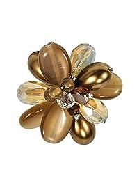 AeraVida 迷人棕色群组混合石可调节偏差尺寸戒指